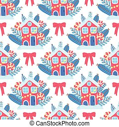 Christmas art vector seamless pattern, red beauty house with red bow ready for xmas holidays with candy lollipop