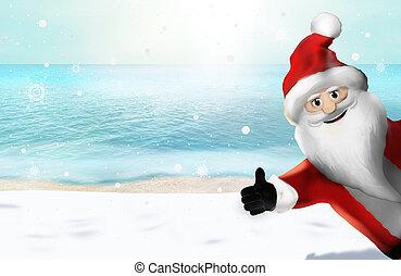 Christmas at the beach Santa Claus Thumbs Up 3D Render