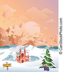 Christmas at the North Pole at dawn