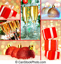 Collection of Christmas gifts, decorative toy balls and flutes with champagne
