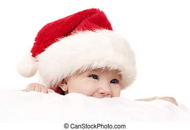 Christmas baby - baby girl wearing santa hat on white...