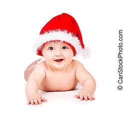 Christmas baby in Santa Claus hat