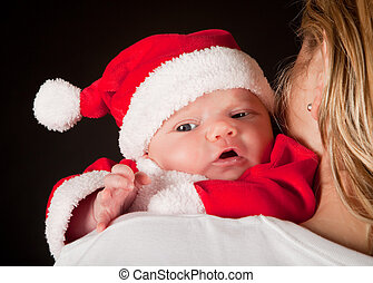 Christmas baby in santa suit