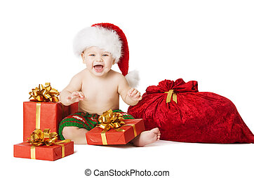 Christmas Baby Kids, Present Gift Box And Santa Bag, Child Happy
