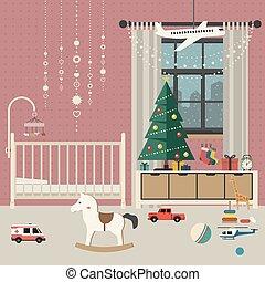 Christmas baby room interior.
