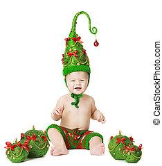 Christmas Baby Xmas Tree Hat, Kid Balls Toys, White