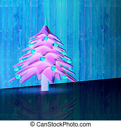 Christmas background. 3d illustration. Anaglyph. View with red/cyan glasses to see in 3D.
