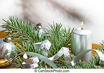 Christmas Background - a Christmas candle with silver...