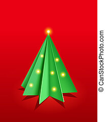 Christmas background. A christmas tree made from paper. Vector background.