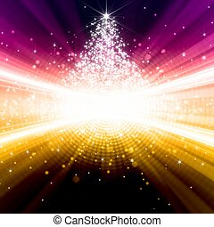 Abstract festive background - bright yellow and pink lights, christmas tree