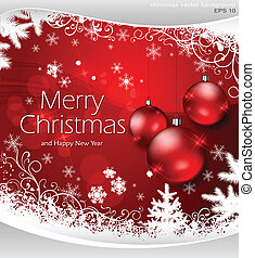 Christmas background and balls in red & text