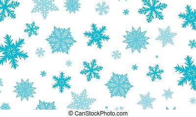 Christmas background, animation of snowflakes, rotation.