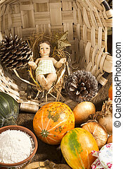Baby Jesus figurine in country kitchen