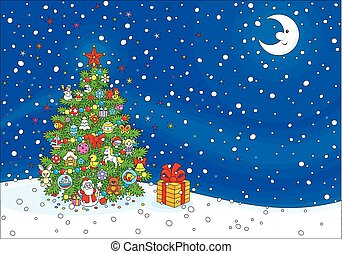 Christmas background - Background with a Christmas tree, ...