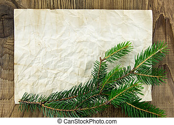 Christmas Background. Blank Old Paper Sheet with Decoration