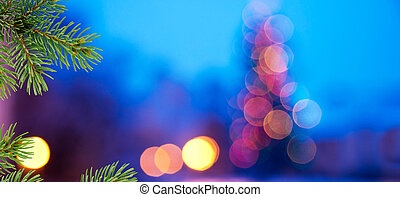 Christmas background. Blue background with needles of...