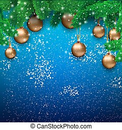 Christmas background blue - Christmas card with gold glass...