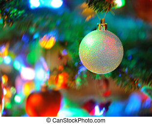 Christmas background - blur background of inside decorated...