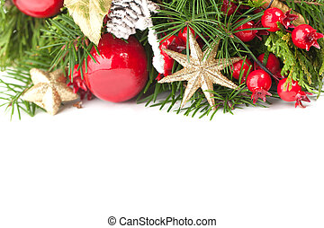Christmas background border with gold stars, green spruce twig and New Year decoration