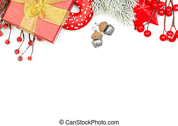 Christmas background border with green Xmas tree twig, gift and red New Year decoration