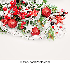 Christmas Background Border with Red Decoration, Xmas Tree Twig, Garland and Xmas Glass Balls