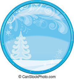 Christmas background, button - Christmas landscape...