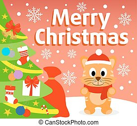 Christmas background card with cat