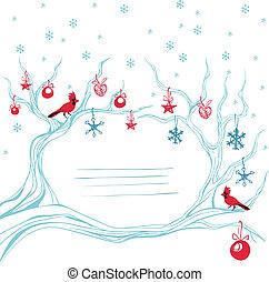 Christmas background cardinal bird brunch decoration -...