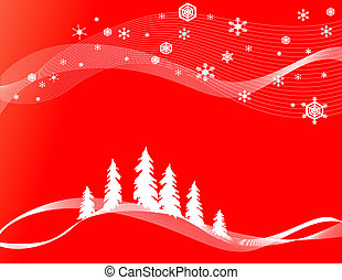 Christams forest background with pine trees and snowflakes