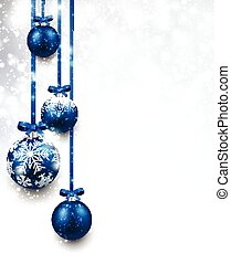 Christmas background. - Christmas background with blue balls...