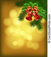 Christmas background - Christmas bells with ribbon, fir...