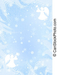 Christmas blue background with angels and snowflakes