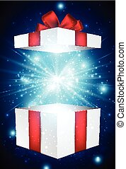Christmas background. - Christmas blue background with gift....