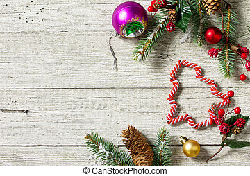Christmas background. Christmas decoration on a wooden table. Preparing for Christmas concept. Top view with copy space.