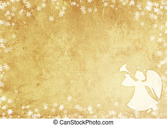 Christmas grunge background with angel. Paper texture