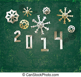 Christmas background - Christmas poster with cut snowflakes...
