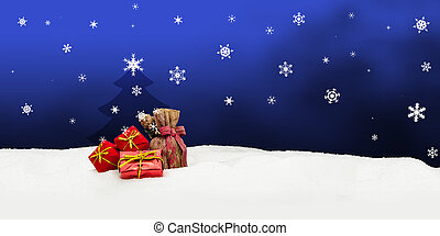 Christmas background - Christmas tree - gifts - blue - Snow