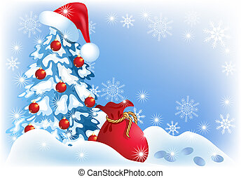 Christmas background - Christmas tree in santa cap