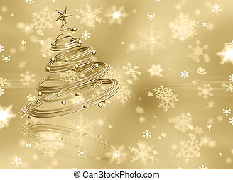 Christmas background - Christmas tree on golden snowflake...