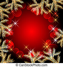 Christmas background with spruce branches and stars