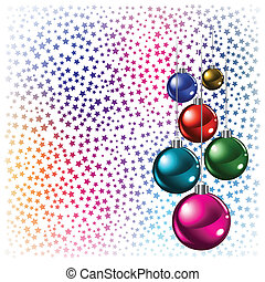 Christmas background colored balls with stars on a white