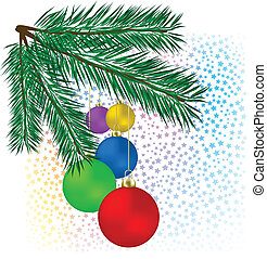 Christmas background colored balls with tree on a white