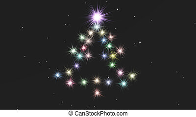 christmas background composed with fir from lights at the night sky