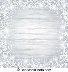 Christmas background concept design of white snowflake and snow on wood with copy space winter season vector illustration
