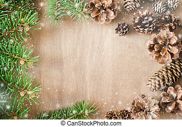 Christmas Background. Cones and Branch in a frame.