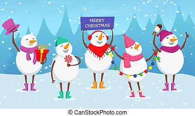 Christmas background. Cute cartoon snowman, new year snowy balls with garland, ice cream, candy vector illustration