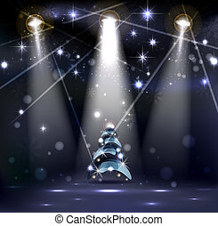 Christmas background - dark Christmas Stage Spotlight with...