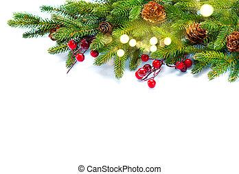 Christmas background. Decorated xmas tree isolated on white