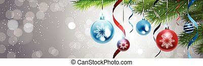 Christmas Background Decoration Shiny Balls On Pine Tree...