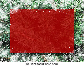Christmas background design of blank red board on xmas tree with snow and snowflake